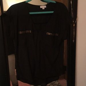 Guess black sheer gold stud blouse